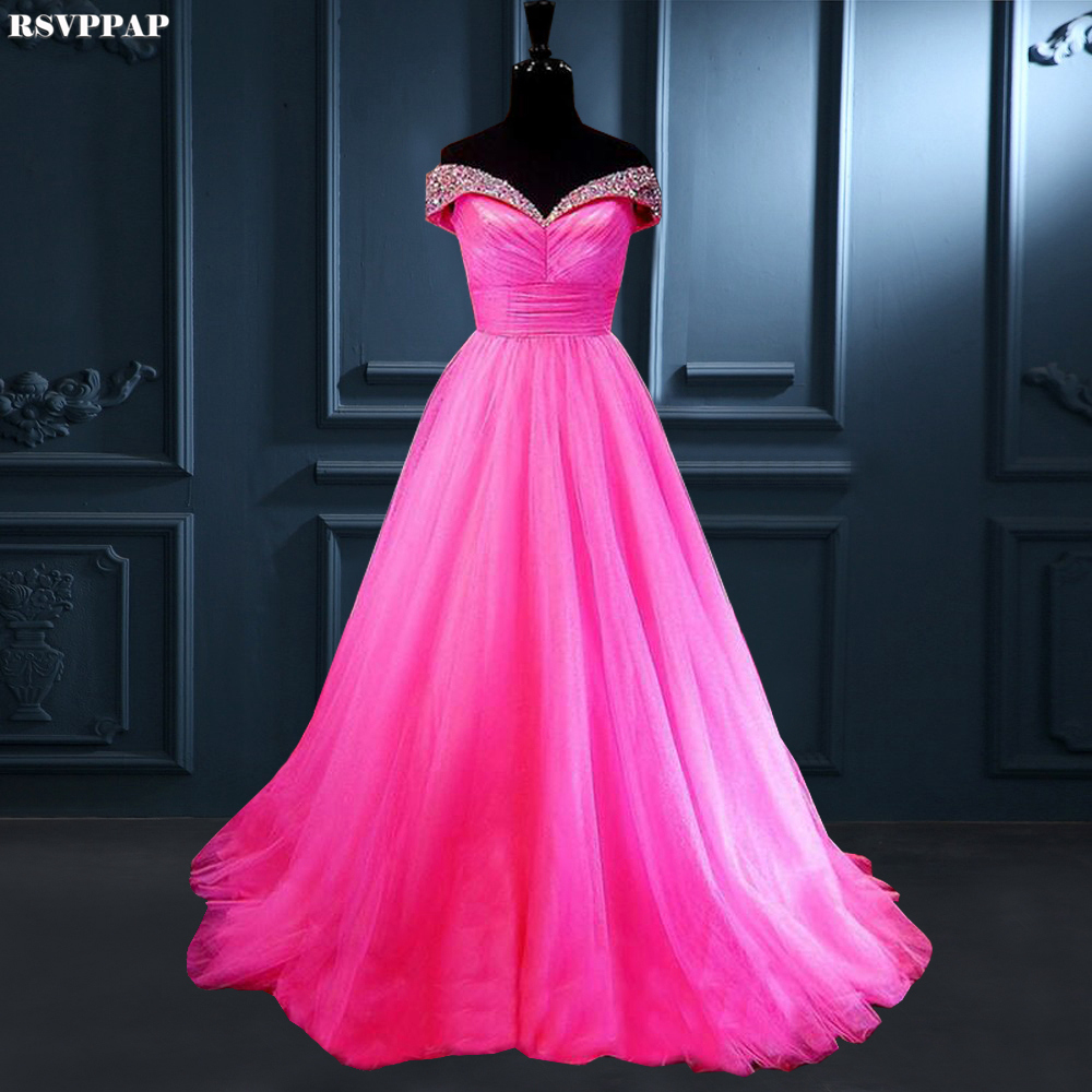 Long   Evening     Dress   2019 Gorgeous A-line V-neck Cap Sleeve Beaded Crystals Floor Length Hot Pink Women Formal   Evening   Gowns