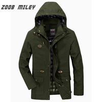 ZOOB MILEY Men Autumn Spring Hooded Coat Hat Detachable COTTON Men Jackets Long Sleeve Military Style