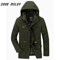 ZOOB MILEY Men Autumn Spring Hooded Coat Hat Detachable COTTON Men Jackets Long Sleeve Military Style