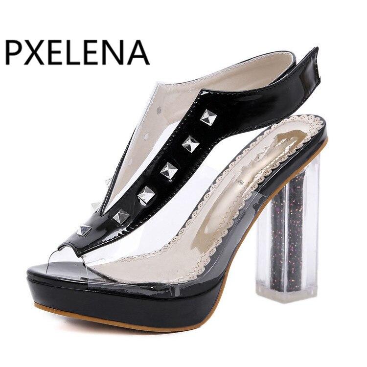 Noir Chaussures 2019 Transparent Pvc D'été Blanc blanc Chunky Rivet Sandale Femmes À Talons Crochet Carré Clair Noir Pxelena Bloc Cristal Hauts Sandales mNv0nw8