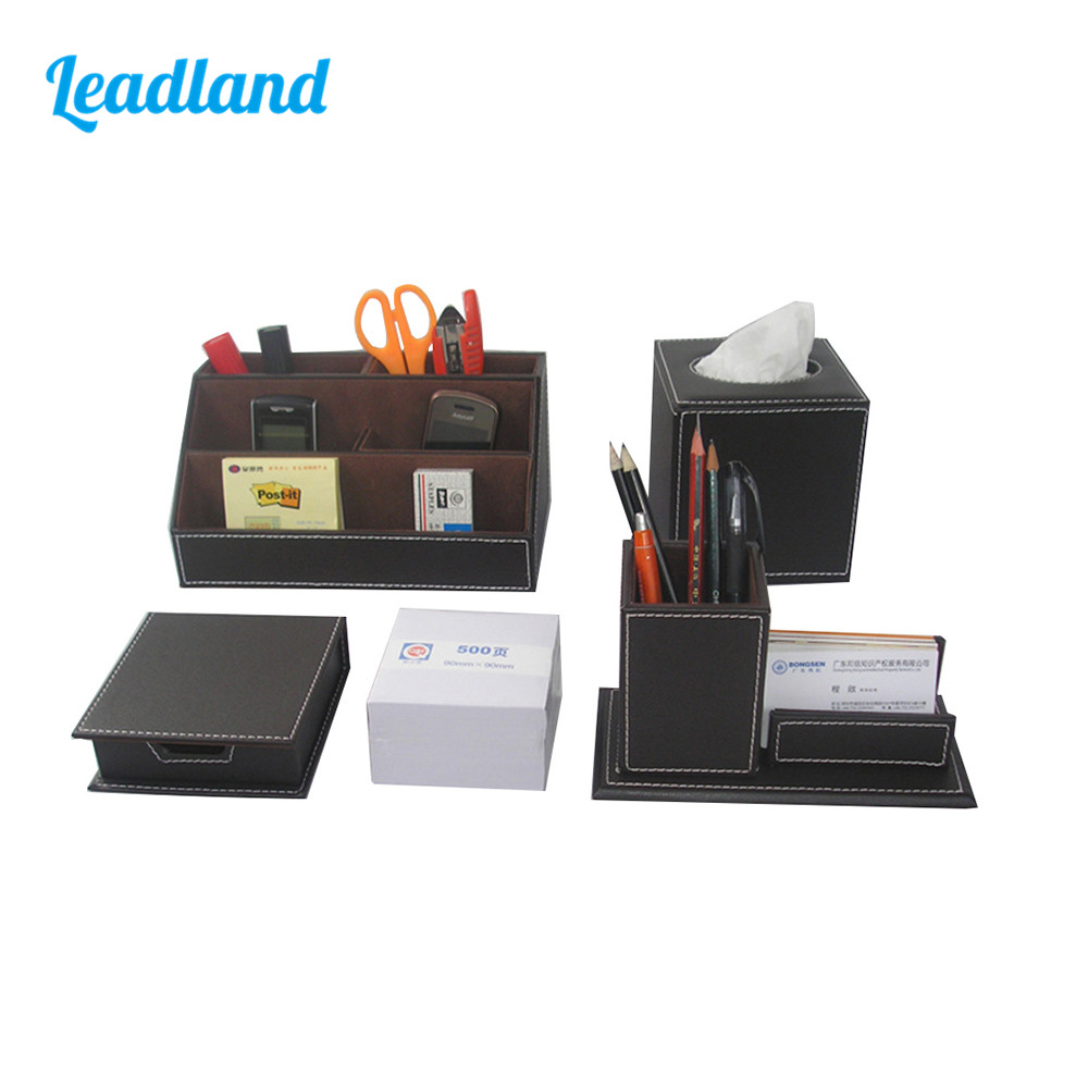 Kingfom Desktop Organizer Set  5 Slots Desktop Organizer Box Pen Holder  Business Card Holder  Memo Box Cube Tissue Case T43