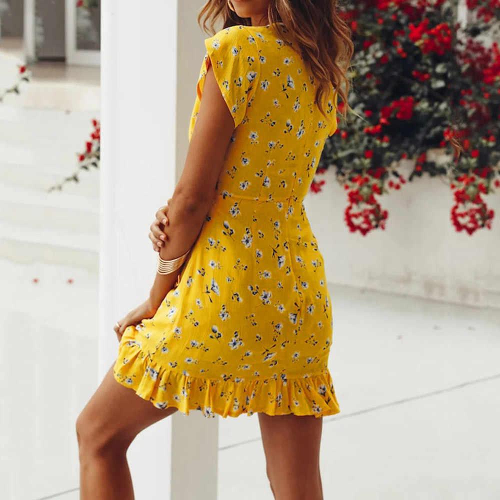 Женское платье с принтом звезд, сексуальное облегающее платье с запахом, повседневное, Деревенское, летнее, стильное, Boho robe, для отдыха, с высокой талией, желтые платья vestidos