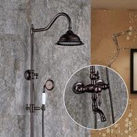 Antique rain shower faucet mixer tap, Oil Rubbed Bronze shower faucet height, Bathroom wall mount shower faucet set shower head