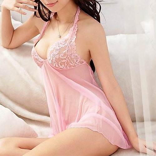 Sexy Women Lady Halter Sweet Pink Lingerie Lace Backless Babydoll Sleepwear Dress + G-String Nightwear Set