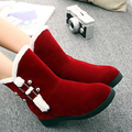 New winter warm snow boots within height increased buckle strap women flat boots sweet campus student shoes popular DT541