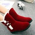 Novo inverno quente botas de neve dentro altura aumento sapatos de fivela mulheres cinta botas flat doce estudante campus populares DT541