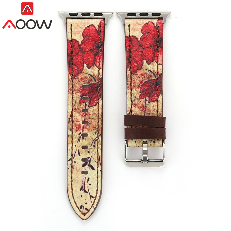 Vintage Leather Watchband For Apple Watch 38mm 42mm Red Flower Print Women Men Replacement Bracelet Strap Band for iwatch 1 2 3 refreshing spaghetti strap flower print flounce swimwear for women