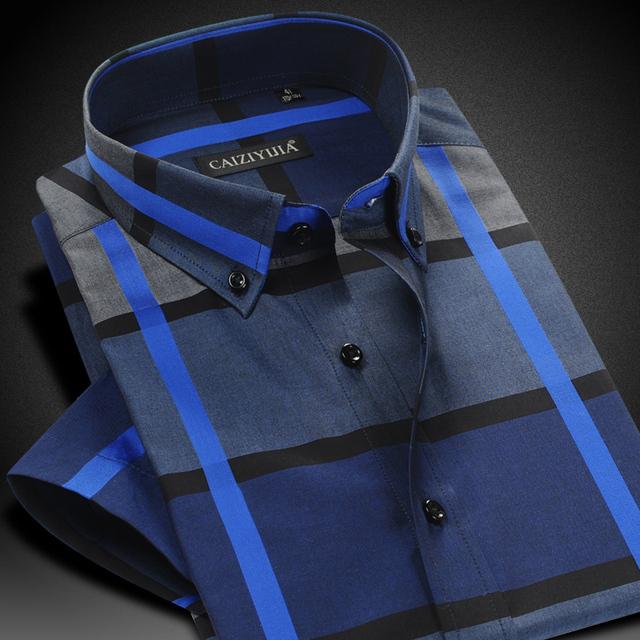 Caiziyijia 2017 homens verão contraste xadrez tarja camisa de manga curta casuais conforto macio slim-fit button-down camisas de algodão