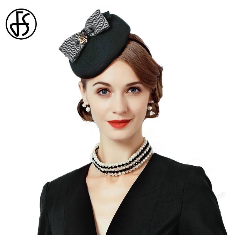 FS lana sombrero de fieltro negro mujeres cóctel fortín sombreros Vintage  Fascinator sombrero con Bowknot partido Formal de las señoras Iglesia en  Sombreros ... 5f2e1dd1610