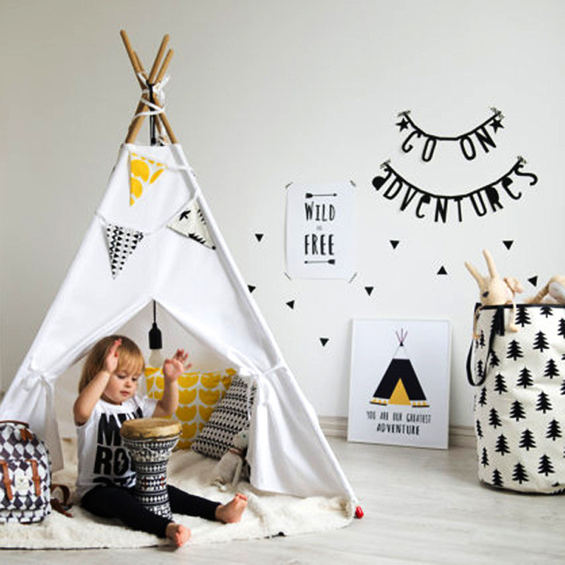 Four Poles Kids Play Tent Cotton Canvas Teepee Children Toy Tent Play House Baby Room Tipi Room Decor Nordic Style Photo Props black tree printed children teepee four poles kids play tent cotton canvas tipi for baby house ins hot foldable children s tent