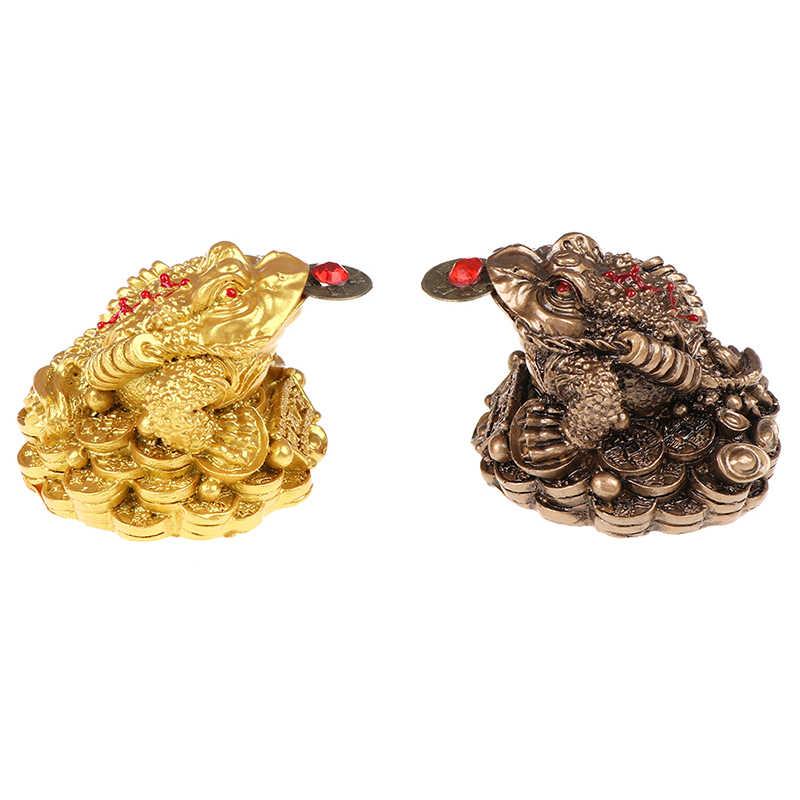 Feng Shui sapo dinero fortuna y riqueza de la suerte Rana Dorada china, sapo moneda hogar Oficina Decoración de mesa adornos regalos de La Fortuna