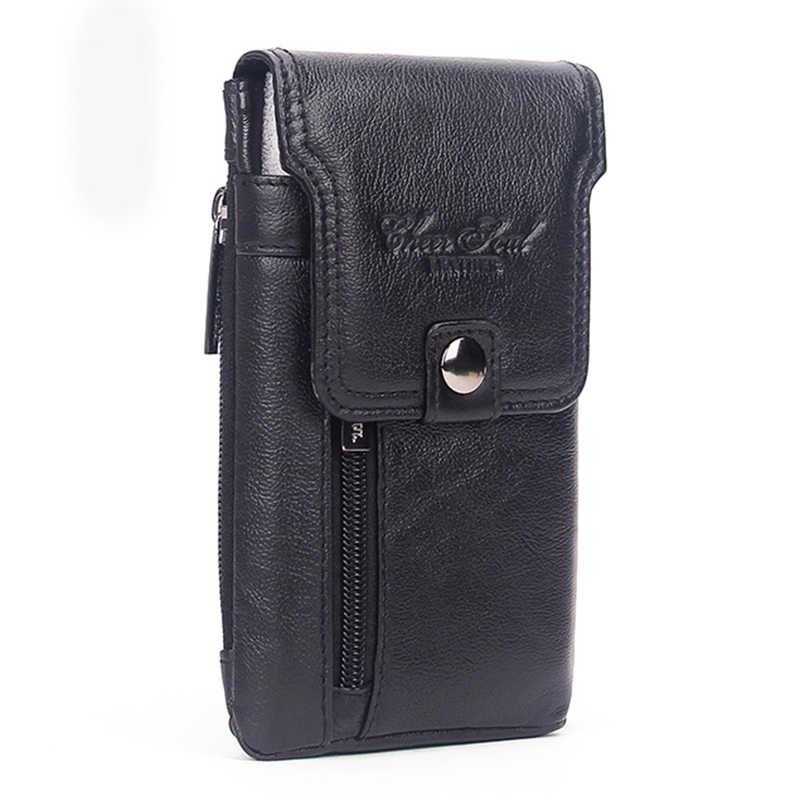80169a48e35 High Quality Genuine Leather Belt Hip Fanny Pack Cowhide Purse Skin Hook  Bum Pouch Men's Cell Phone Case Cigarette Waist Bag