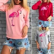 c8bf6965424 Las mujeres de Harajuku sudaderas con capucha de moda 2019 Flamingo  sudadera Tops Casual cuello redondo Jersey Rosa rojo ropa mu.