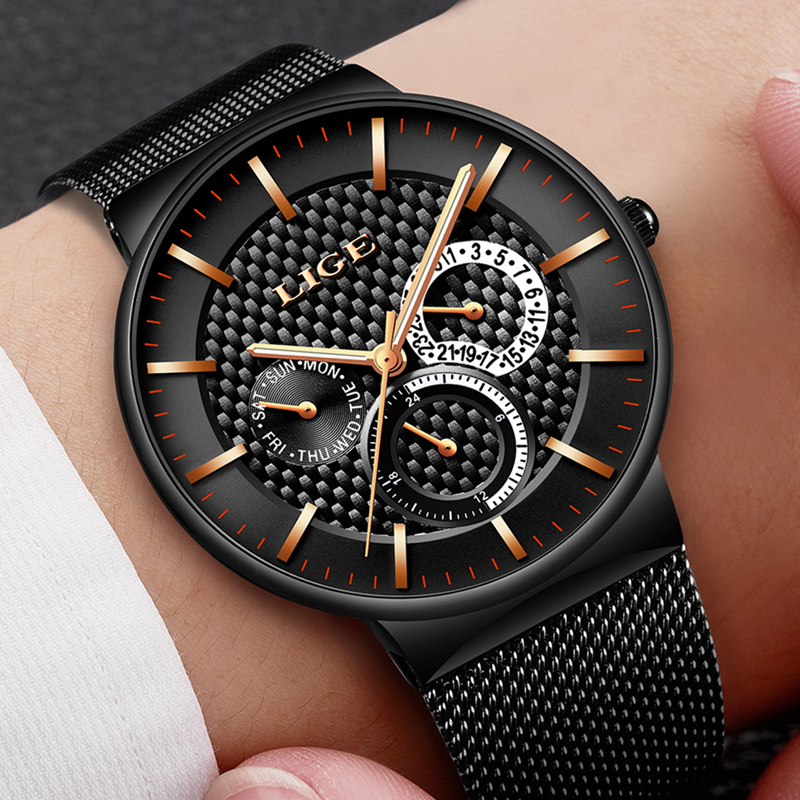 LIGE Watch Men Fashion Sports Quartz Clock Mens Watches Top Brand Luxury Date Waterproof Business Wrist Watch Relogio Masculino sinobi mens quartz watches luxury brand men s fashion watch auto calendar waterproof sports wrist watches relogio masculino 8132