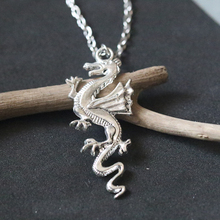 Vintage Antique Silver Dragon Pendant Necklace DIY Handmade Necklaces Fashion For Women Jewelry Holiday gift Choker Collier