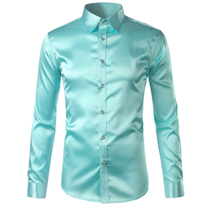 Image 2 - Pink Silk Satin Shirt Men 2017 Fashion Long Sleeve Mens Slim Tuxedo Shirts Casual Shiny Emulation Silk Button Down Dress Shirts