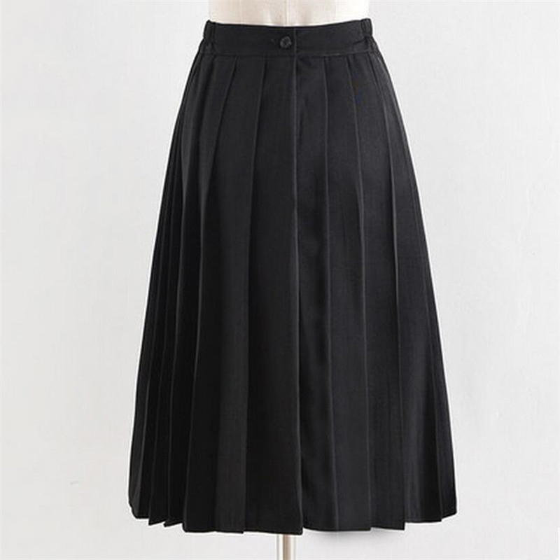 Fashion High Waist School Uniform Skirt Long Pleated Skirts School Girls A-line Midi Sailor Skirts