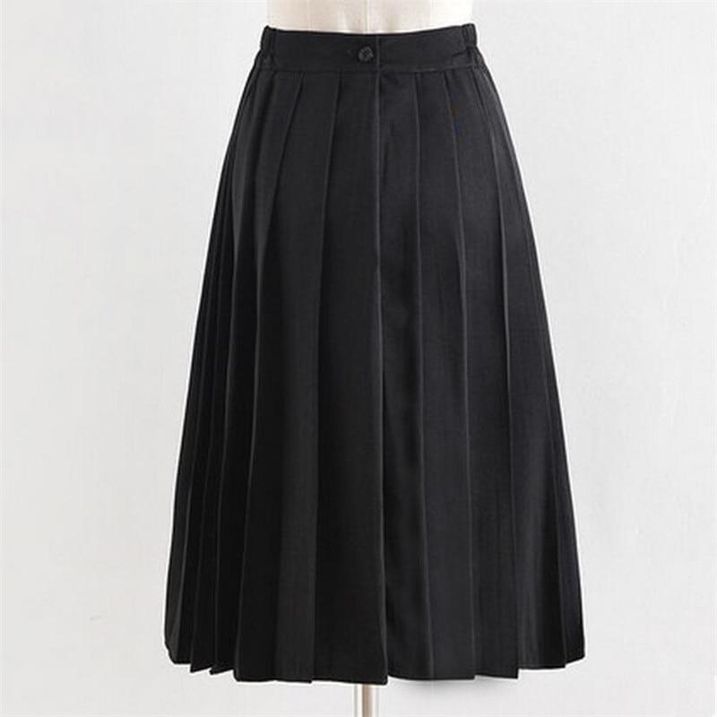 Fashion High Waist School Uniform Skirt Long Pleated Skirts School Girls A-line Midi Sailor Skirts