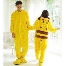 Halloween Cosplay Pokemon Pikachu adultos traje Japón anime Pikachu flannel pijamas  unisex Pijamas 8c955a43cdf0