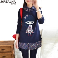 Winter Kawaii Sweatshirt Women Pullover Embroidery Flannel Cute Gril Patchwork Fake Two Pieces Thicken Hoodies Moletom