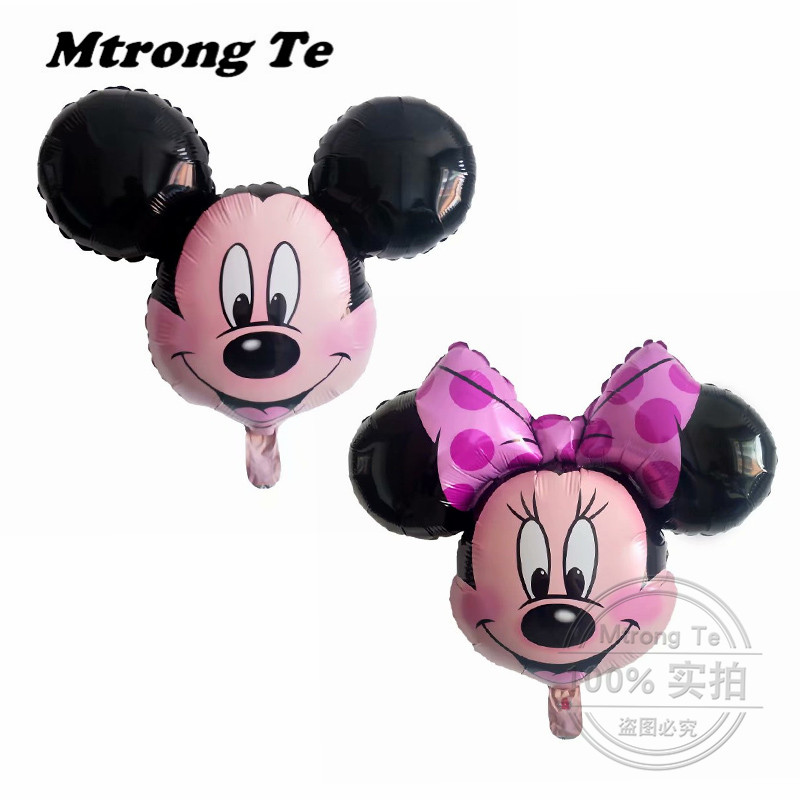 50pcs Mickey Minnie Head Foil Balloons Pink Bowknot Minnie Mouse Balloon Wedding Birthday Party Decoration Supplies Air Globos