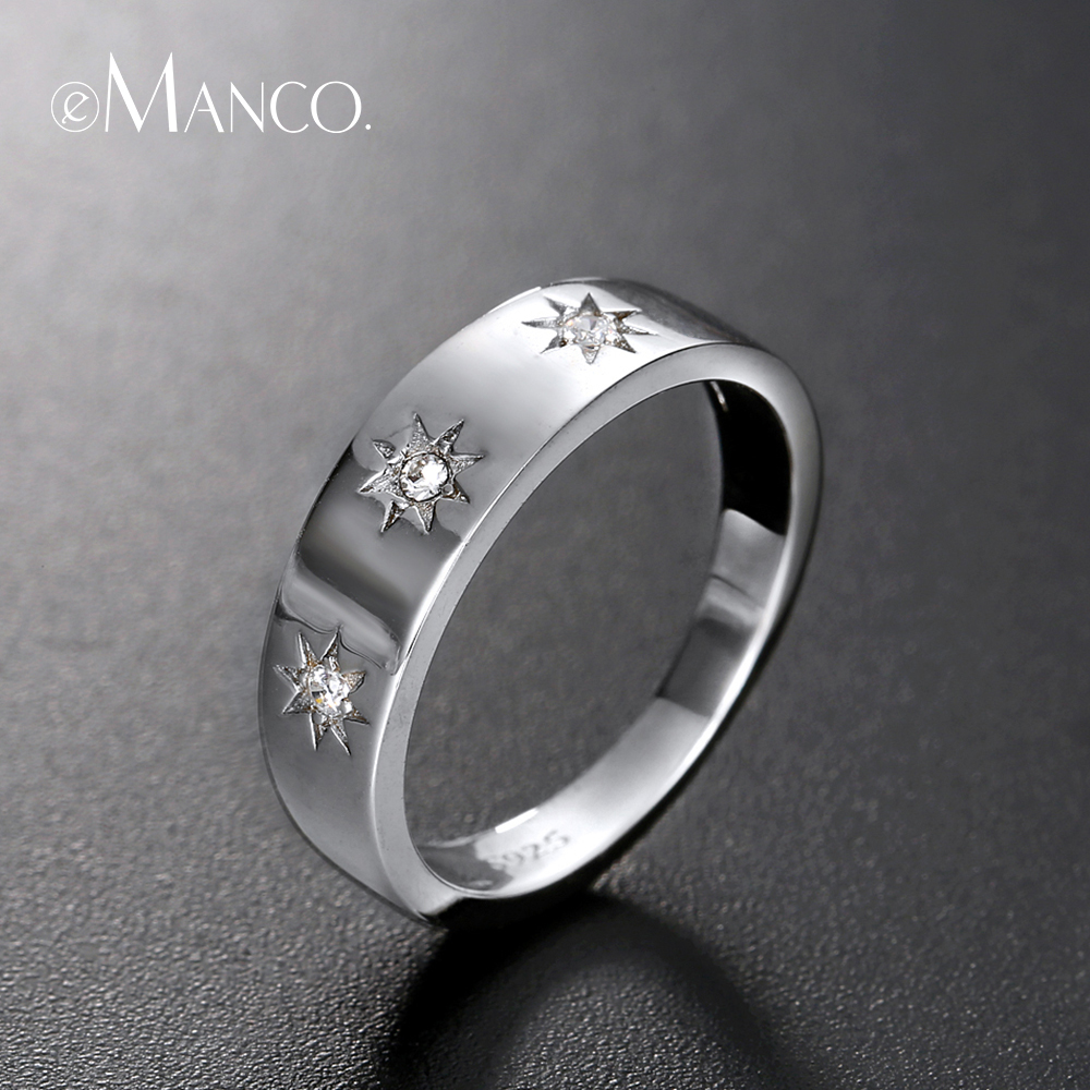E-Manco 925 Sterling Silver Rings Three Cubic Zirconia Finger Rings For Women Men Unisex Rings For Party