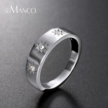 e-Manco 925 Sterling Silver Rings Three Cubic Zirconia Finger Rings for Women Men Unisex Rings for Party(China)