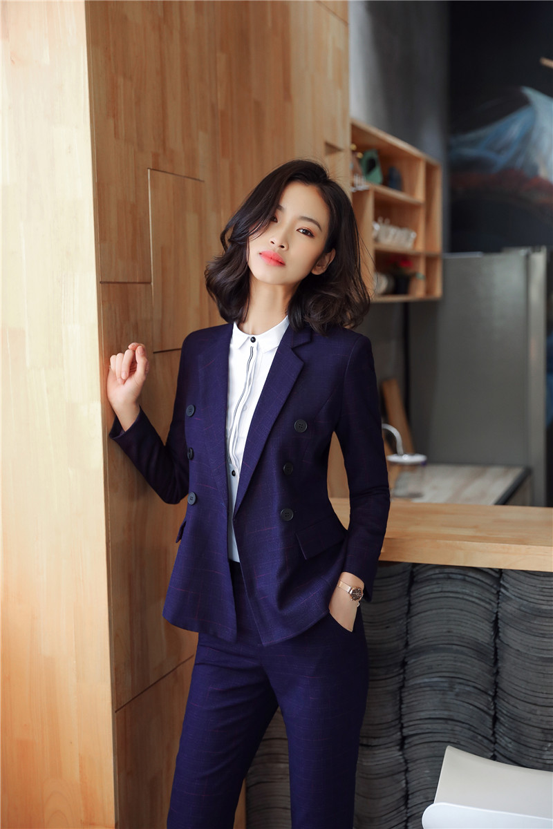 High Quality Fabric Formal Ladies Pantsuits With Pants And Jackets For Office Business Blazers Female Pants Sets Uniform Designs