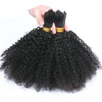 Human Braiding Hair Bulk No Weft 4B 4C Afro Kinky Curly Bulk Hair For Braiding 3Pcs/Lot Mongolian Remy Hair Crochet Braids
