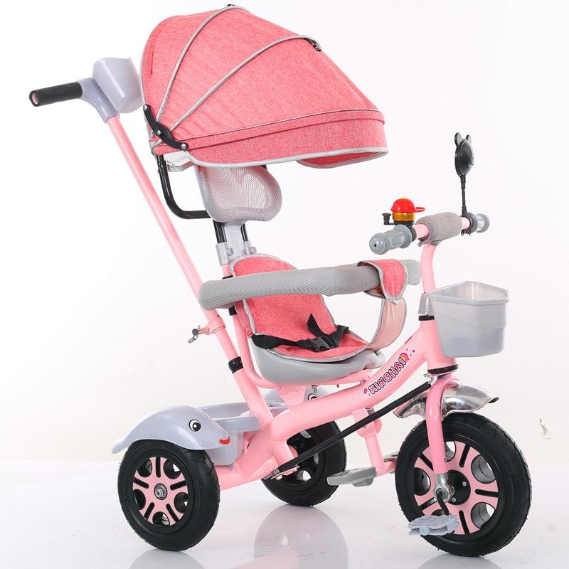 Enfant Tricycle vélo 1-2-3-6 ans bébé fauteuil roulant enfants vélo trois roues poussette 2 en 1 Buggies 3 roues poussette Tricycle