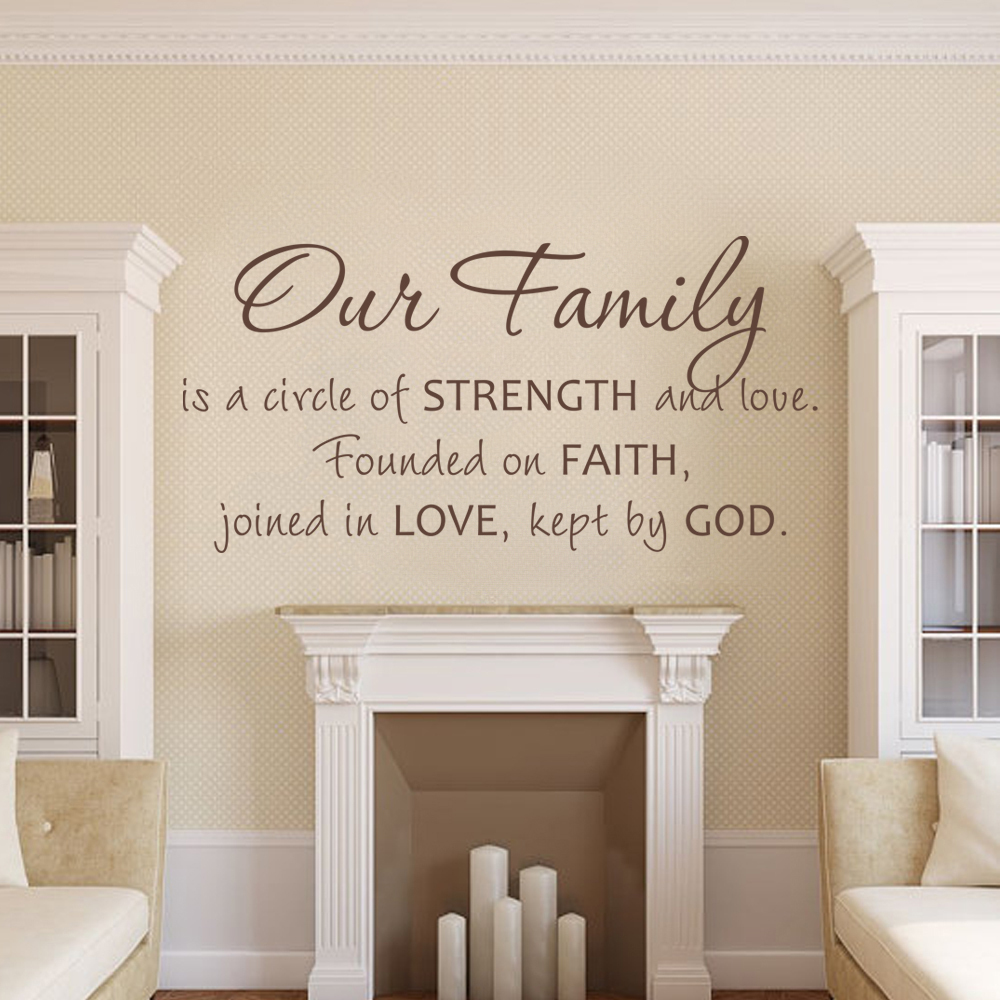 Our Family A Circle Of Strength And Love Wall Decal Family Wall Sticker Home Decor Love Vinyl Art Quote 43.2cm x 86.4cm