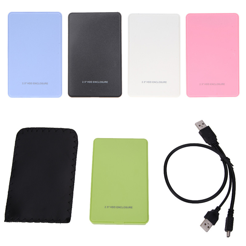 2.5 Inch Slim Portable HDD Enclosure USB 2.0 External Hard Disk Case SATA Hard Disk Drives HDD Case With USB Cable And Pouch New