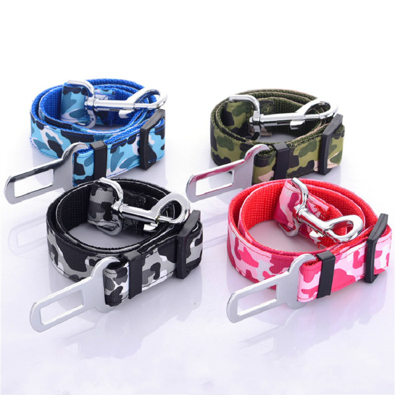 Camouflage Strong pet Dog Car Belt dog Vehicle safety belts Travel Seat Belt Clip Leash Restraint Harness Auto Traction Leads