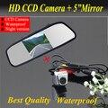 """Promoção 2 em 1 CCD câmara de visão traseira + 5 """" HD espelho de carro Monitor de espelho retrovisor Monitor CCD da câmera de estacionamento back up da câmera"""