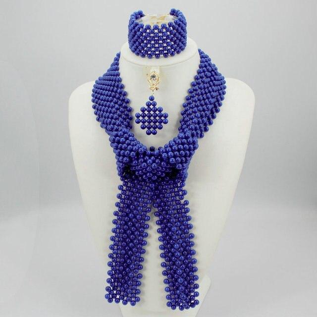 Laranja vermelho clássico azul Nigeriano beads africanos conjunto de jóias 2e2930f34a5b3