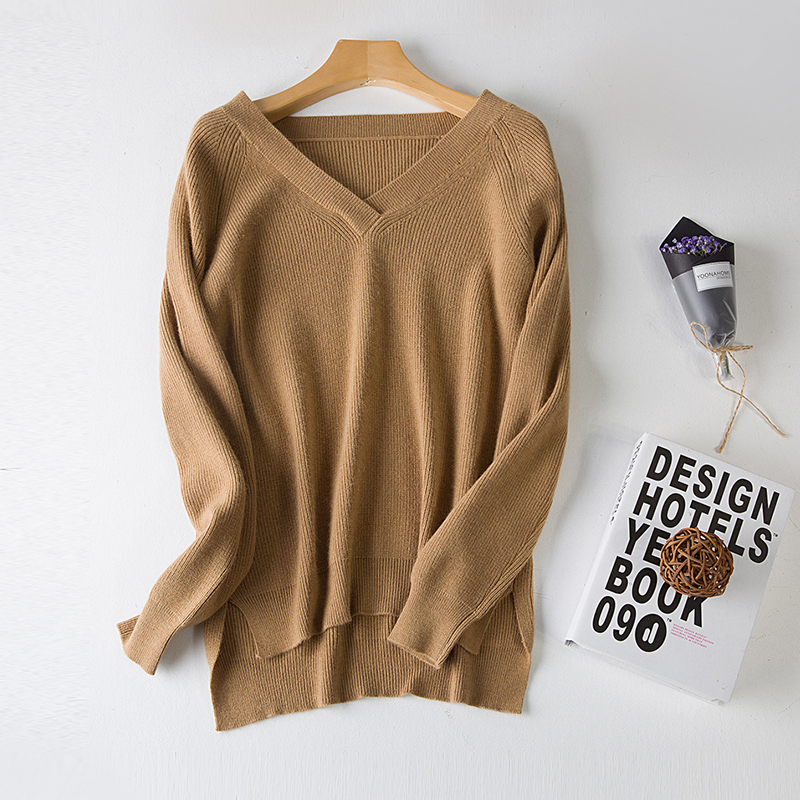 LHZSYY Autumn Winter V Neck Ladies New pure Cashmere Sweater Fashion Irregular pullovers Solid Color Sweaters Slit Short section in Pullovers from Women 39 s Clothing