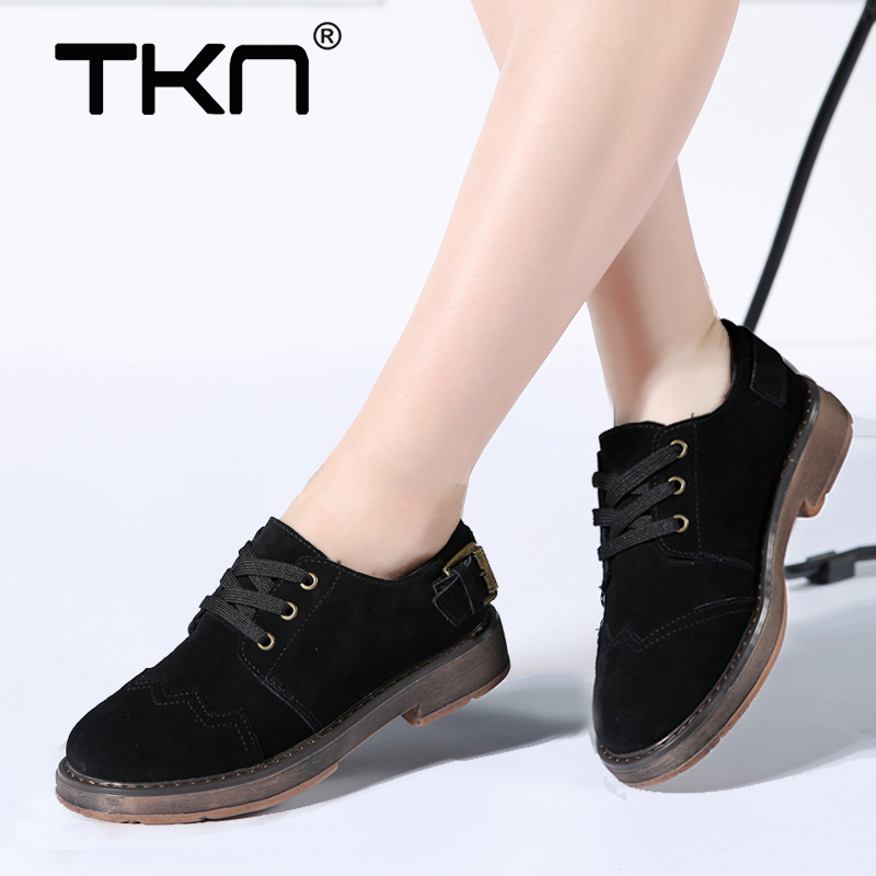 TKN 2019 Spring women oxford shoes flats shoes women   leather     suede   brogue lace up boat shoes round toe flats moccasins 1703