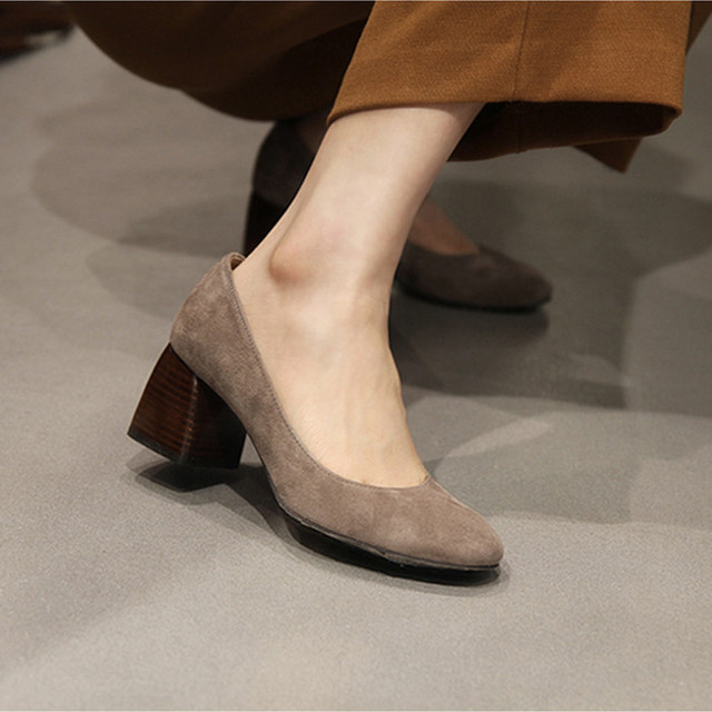 67169082aa5 European luxury brand woman high heels shoes square toe pumps ladies thick  heels autumn shoes woman pumps fashion trend pumps