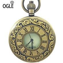Ogle Bronce Antiguo Romano Blanco Luminoso Dial Mens Señora Collar Fob Cadena de Reloj de Bolsillo del Cuarzo de Japón Analógico Caja de Regalo