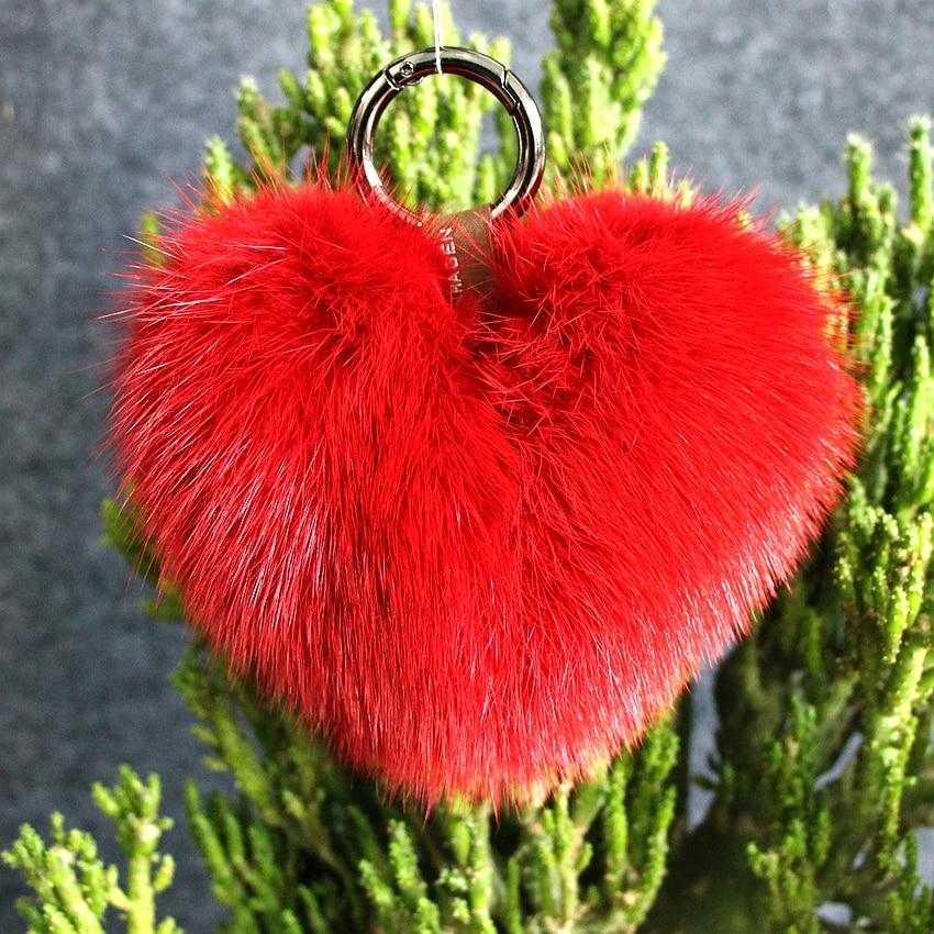 real mink heart font b keychains b font charm fur pompon bag pendant accessory gun key