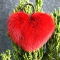 real mink heart keychains charm fur pompon bag pendant accessory gun key chain pompom key car fur keyring