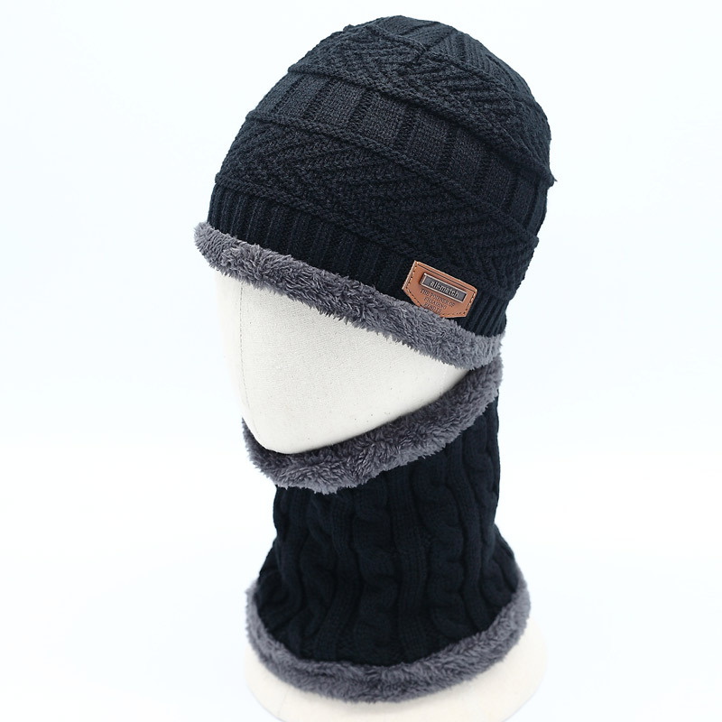 40802bff3e9 ... Autumn Winter Warm Children s Hats Scarves Set Thick Plus Velvet Men  Women Kids Wool Cap Collar ...