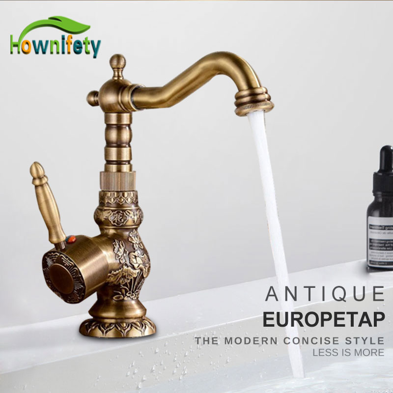 Solid Brass Short Tall antique brass Polish  Bathroom Faucet Sink Faucet Deck Mounted Mixer Tap Cold and Hot Water Europe Style-in Basin Faucets from Home Improvement    1