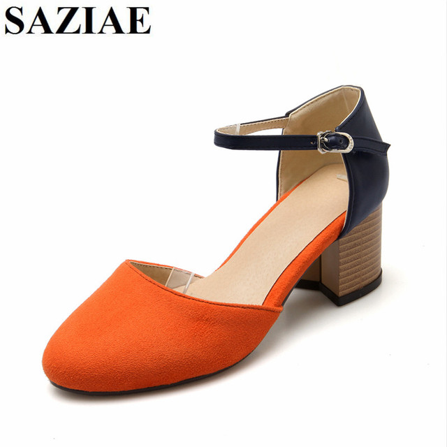 2017 Hot Sale Fashion Orange Gray Pink Colors Buckle Women Shoes High Heels  Gladiator Sandals Dress Summer Zapatos Mujer Shoes 9d4ea1ec50