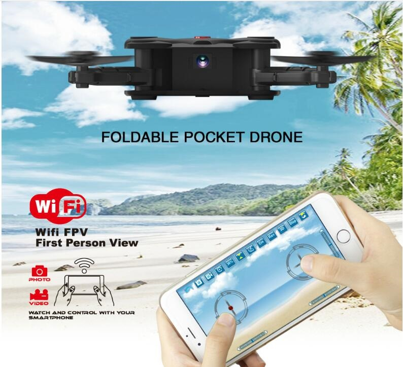 Hot RC kids toy FQ-17W 2.4G RC Drone with foldable arm WIFI FPV camera altitude holding mode profesional pocket selfile RC drone jjrc h39wh rc drone with camera wifi fpv 720p headless mode rc helicopter altitude hold drones 360 degree rotation foldable arm