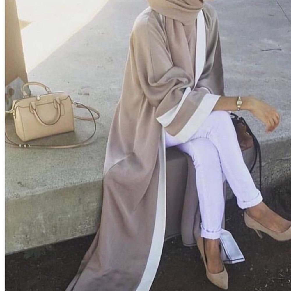 Casual Muslim Abaya Striped Dress Scarf Cardigan Long Robes Kimono Ramadan Middle East Thobe Worship Service Islamic Clothing
