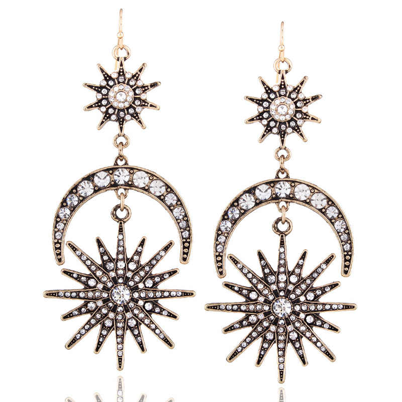 New six-manger Drop earrings in Europe and the United States fashion exaggerated sun moon dangle earrings alloy earrings