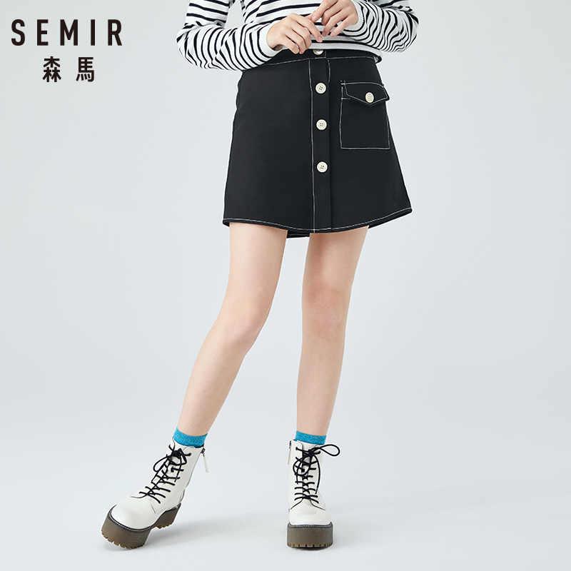 SEMIR spódnica kobiety 2019 jesień nowy słowo krótka spódnica cienki asymetryczne retro dziewczyna jednorzędowa bawełniana seksowna spódnica