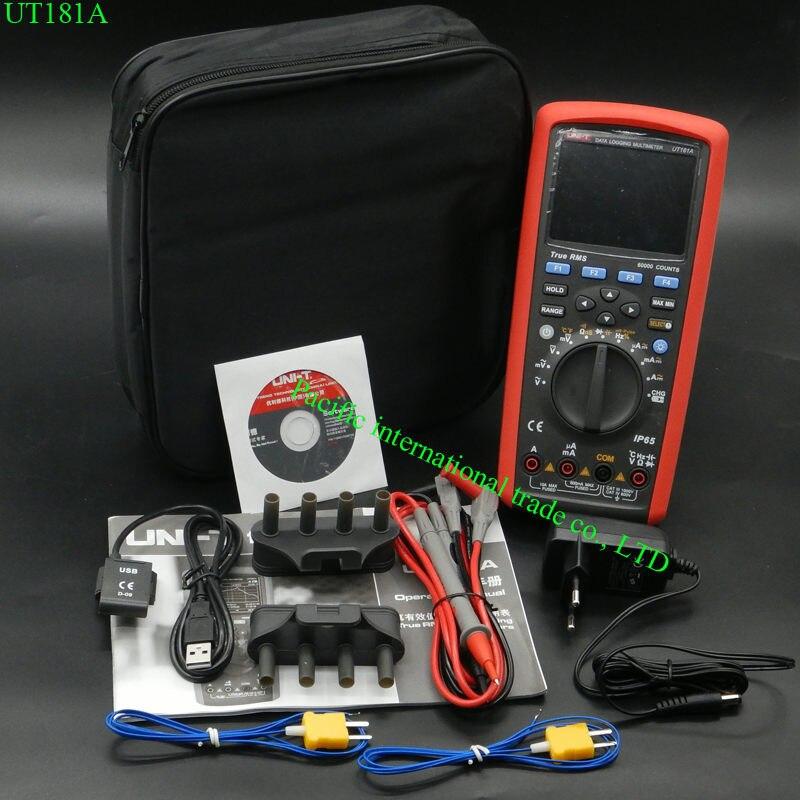 Vero RMS di Registrazione Dei Dati Multimetri Digitali UNI-T UT181A DMM Capacità Misuratore di Temperatura w/Ricaricabile Li-Batteria UE spina