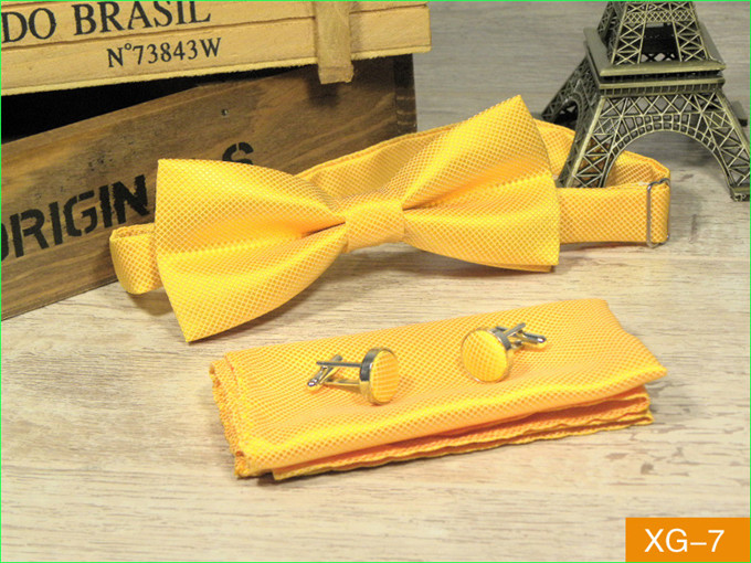 SCST Brand Gravata New Pajaritas Solid Yellow Gold Silk Bow Ties For Men Match Bowtie Pocket Square And Cufflinks 3pcs Set CR051